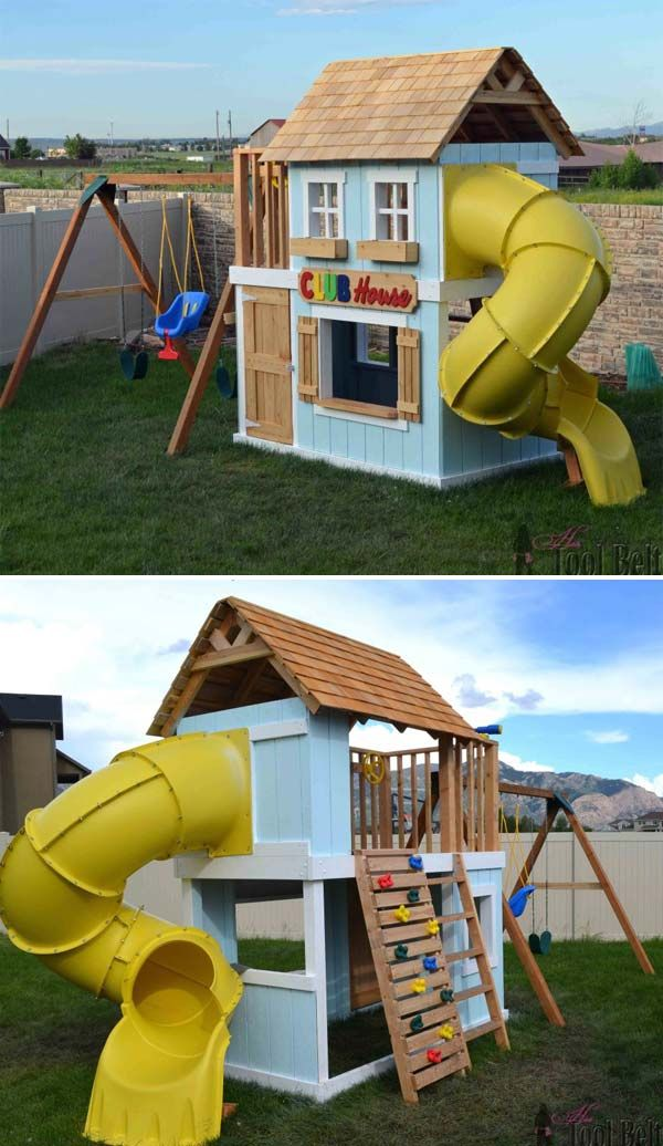 Best 25 playhouse outdoor ideas on pinterest kids for Kids wooden play house