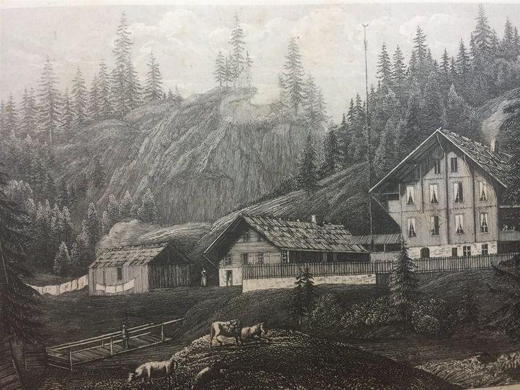 Annons på Tradera: Rosenlaui Schweiz Antik Etsning Topografisk Plansch 1840 Das kleine Universum