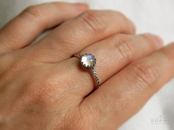 Statement silver ring Little Moon with adularia gem silver