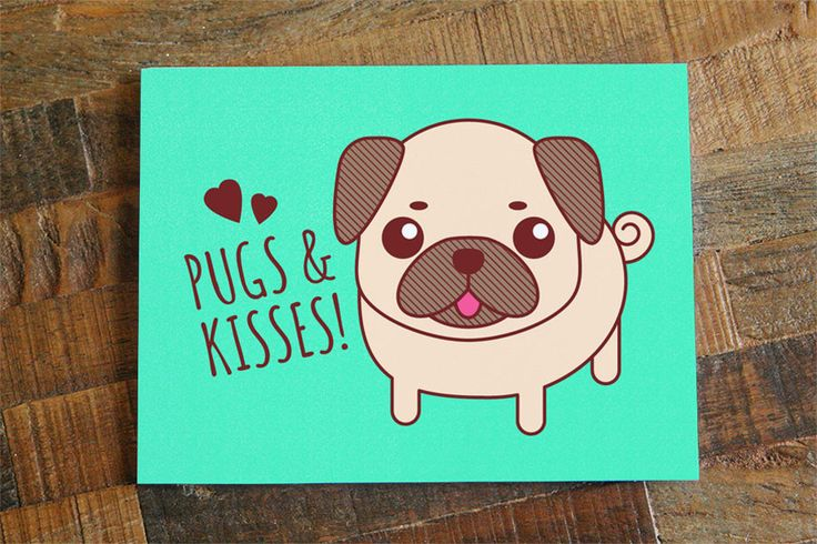 FREE SHIPPING ON US ORDERS! Nothing is better than receiving Pugs & Kisses in the mail! This Card is a high quality print of Tiny Bee Card's original vector art drawing! - Card Size is 4.25 x 5.5 inch