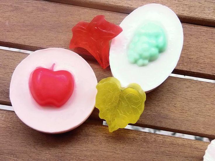 Handmade Glycerin Soap Leaves Fruit Leaf shaped gift bar natural scented fall  #Handmade