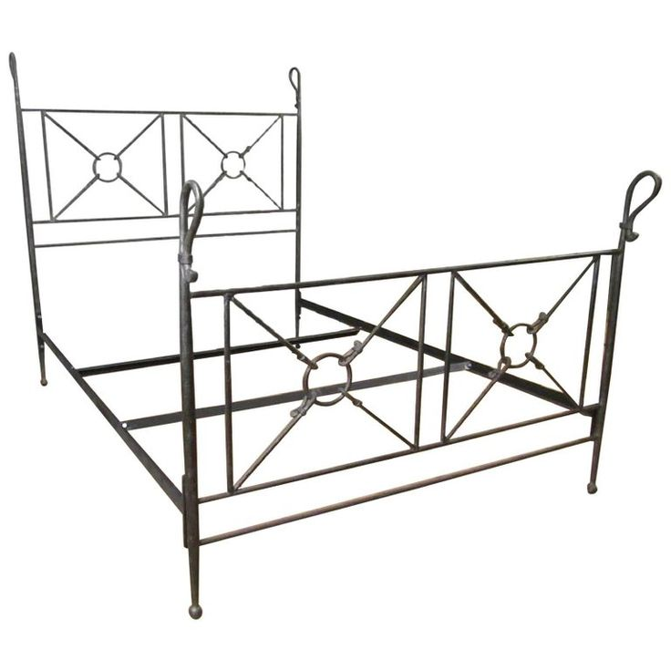 Grand Tour Roman Style Forged Iron Queen-Size Bed | From a unique collection of antique and modern bedroom furniture at https://www.1stdibs.com/furniture/more-furniture-collectibles/bedroom-furniture/