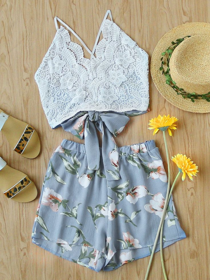 Two-piece Outfits by BORNTOWEAR. Lace Panel Criss Cross Bow Tie Back Cami Top With Floral Shorts