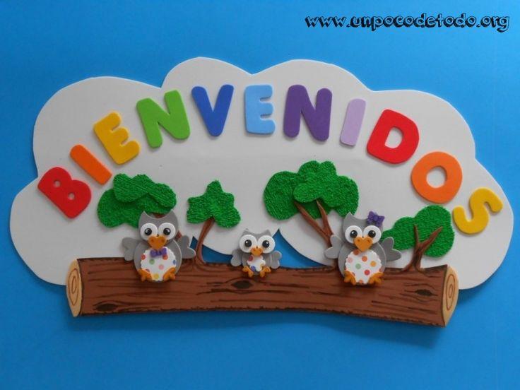 www.unpocodetodo.org - Cartel bienvenidos de buhos - Carteles - Goma eva - animales - animals - bienvenidos - buho - crafts - manualidades - owl - welcome - 1