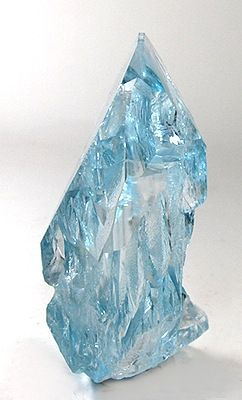 """Topaz from Xanda Mine, Virgem da Lapa, Minas Gerais, Brazil. This is a famous specimen regarded as one of the most beautiful single gem crystals in the Barlow Collection. Upon that collection's sale in 1998, it went to Dr. Stephen Smale's collection where it has resided until now. It was illustrated on a full-page photo in the 1976 article on """"emerging collector"""" F. John Barlow. It was illustrated again in his book of a few years back.   From irocks"""