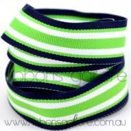 lime|navy surfboard striped grosgrain (23mm wide) [per mtr] - $1.60 : Ribbons Galore, your online store for the best ribbons #ribbons #ribbonsgalore #stripedgrosgrain