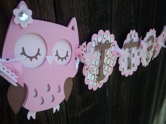 It's A Girl Owl Banner in pink and brown OR pick your own colors on Etsy, $34.00