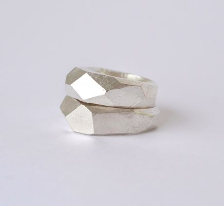 Seb Brown Silver Slab Rings, available in store and online