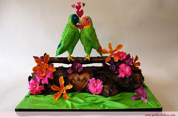 Tropical Love Birds Wedding Cake by Pink Cake Box in Denville, NJ.  More photos and videos at http://blog.pinkcakebox.com/tropical-love-birds-wedding-cake-2010-06-28.htm