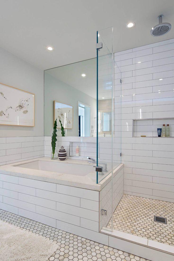 House in Berkeley Hills by Yamamar Design. Modern bath. Oversized subway tile. Marble hexagonal tile. Framless shower doors.