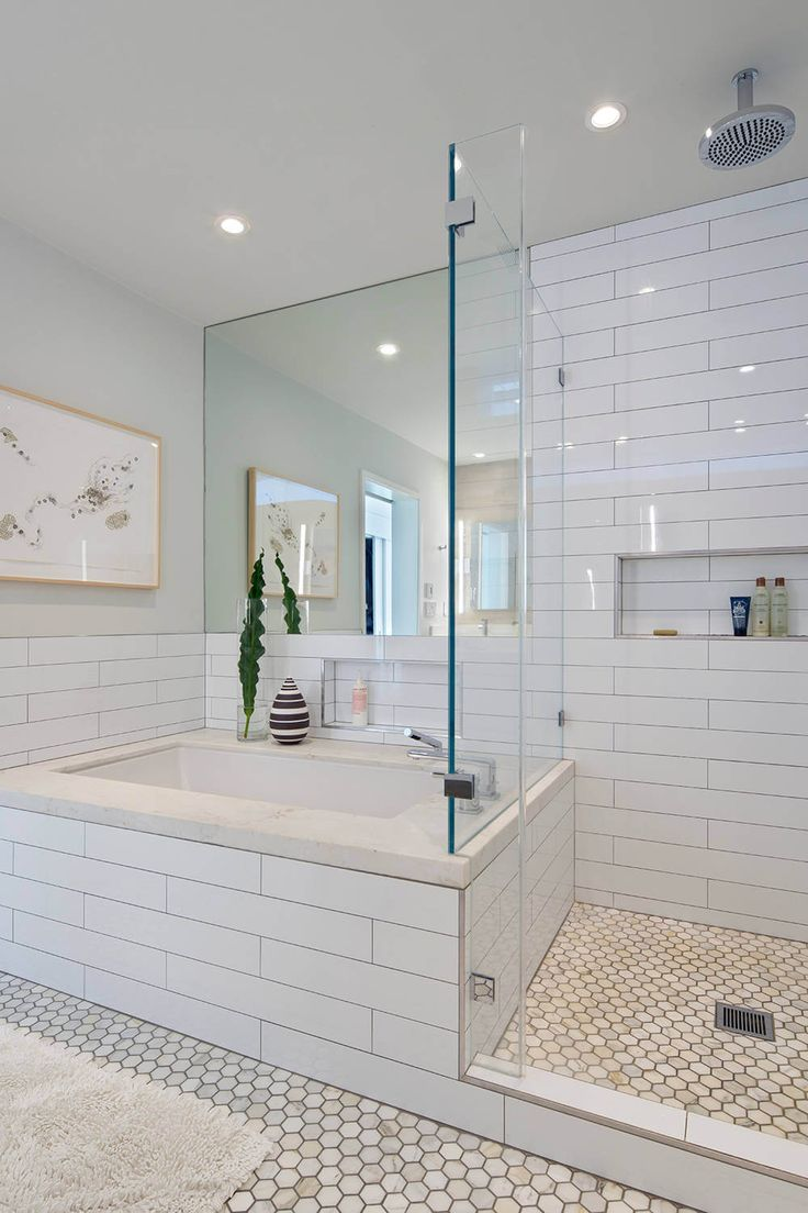 Modern bathroom showers - House In Berkeley Hills By Yamamar Design Modern Bath Oversized Subway Tile Marble