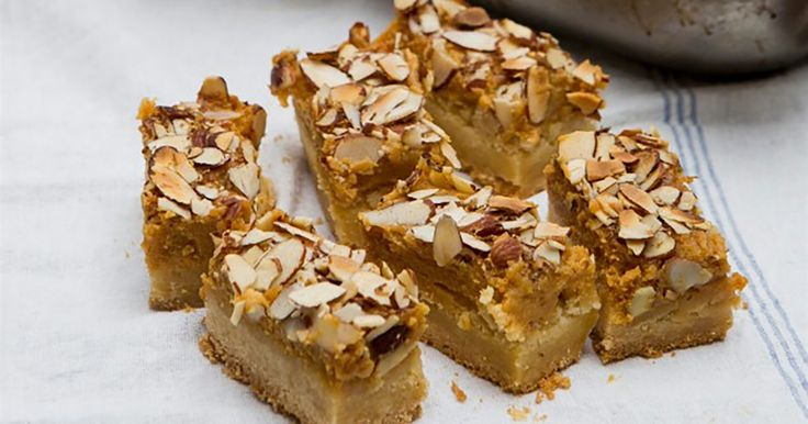 This caramel and almond slice recipe is a classic favourite for very good reason.