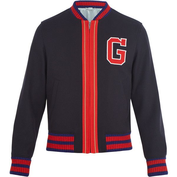 Gucci Logo-appliqué wool bomber jacket ($1,980) ❤ liked on Polyvore featuring outerwear, jackets, blue, men's embroidered bomber jacket, mens red bomber jacket, mens red jacket, american eagle mens jackets and mens wool outerwear