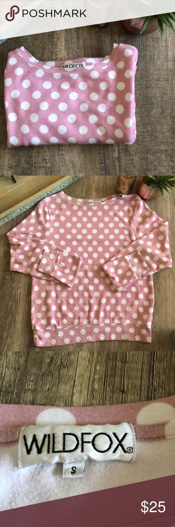 WildFox Polka Dot Jumper Piling effect.  Wash look In used condition Oversized fit Wildfox Tops