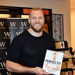James Haskell, England international rugby player signs copies of his new diet and fitness guide