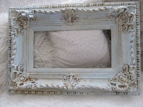 Ornate picture frame blue and cream distressed by AnitaSperoDesign