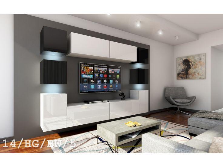 Meblościanka NAPOLI C14 połysk - Nowość    #meble #furniture #livingroom #salon #tvset #wallunit #madeinpoland #LED #bw #design #modern