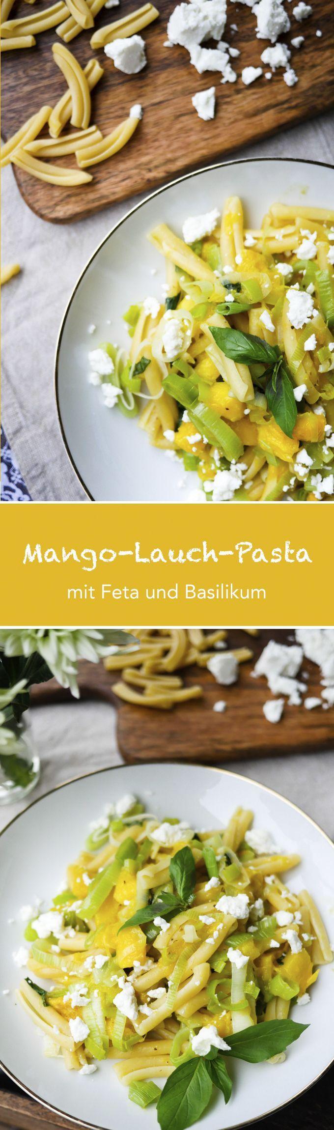 Leckere Mango-Lauch-Pasta mit Feta und Basilikum - Gaumenfreundin Foodblog #schnellerezepte #gesunderezepte #vegetarischerezepte #pastarezepte #nudelrezepte