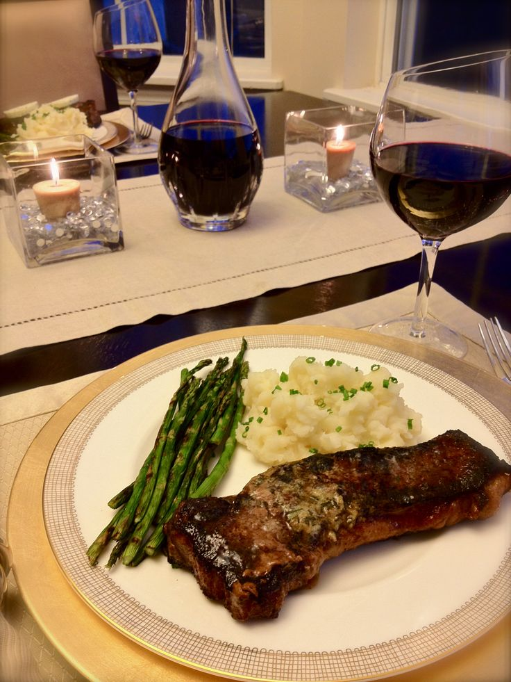 Vday Menu: Restaurant Steaks with Compound Butter, Grilled Asparagus and Smashed Potatoes