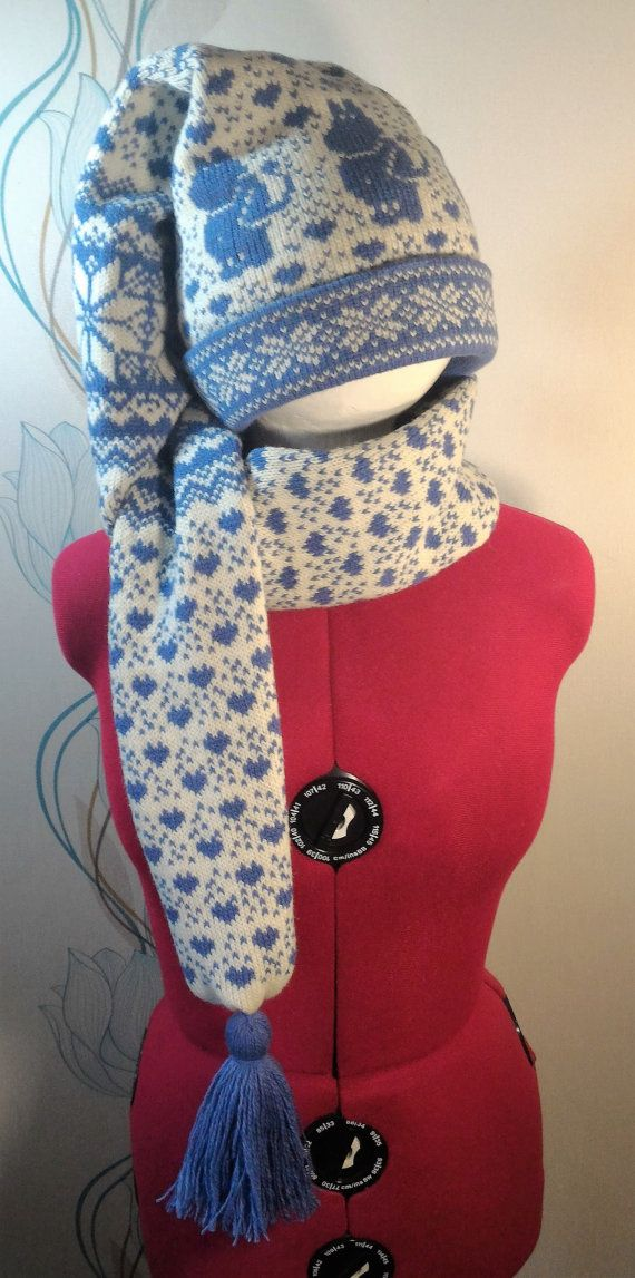 Super Long stocking cap with moomin pattern and long by LanaNere