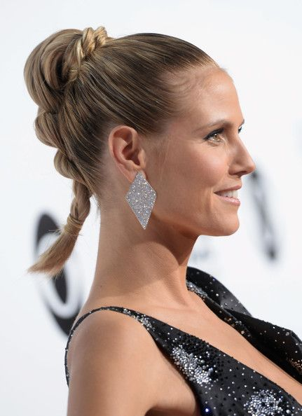 Heidi Klum topped off her braided up-do with a pair oversized earrings