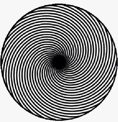 Kijk geconcentreerd naar de zwarte midden. Als je blijft kijken, lijkt het te groeien. Blijf je een hele tijd kijken dan lijkt alles te gaan bewegen.