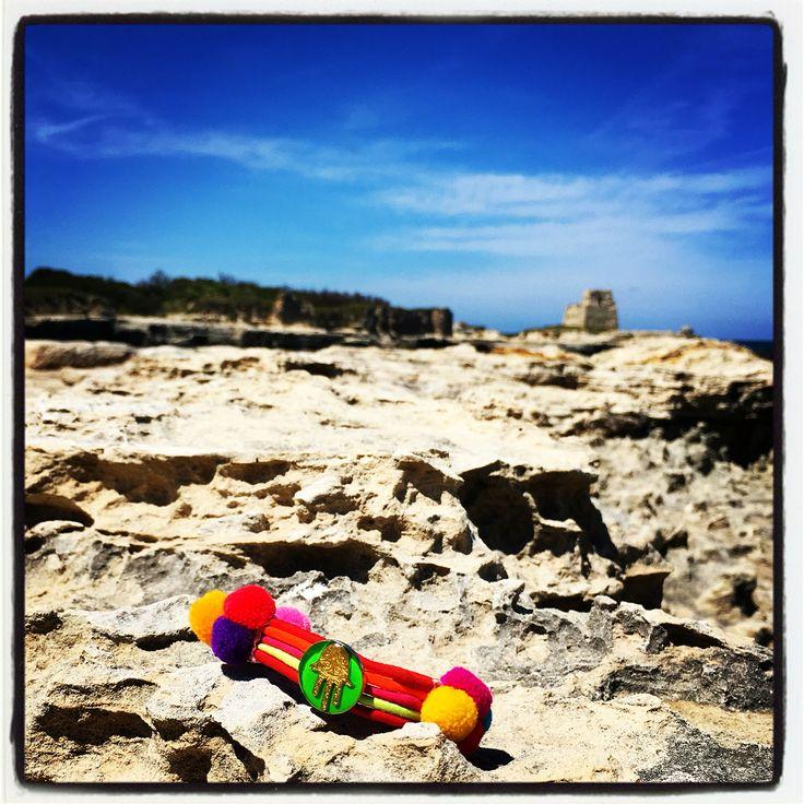 Pompoms + sunshine + sea = ❤️ #danalevy neon hamsa hand pompom lucky charm bracelets
