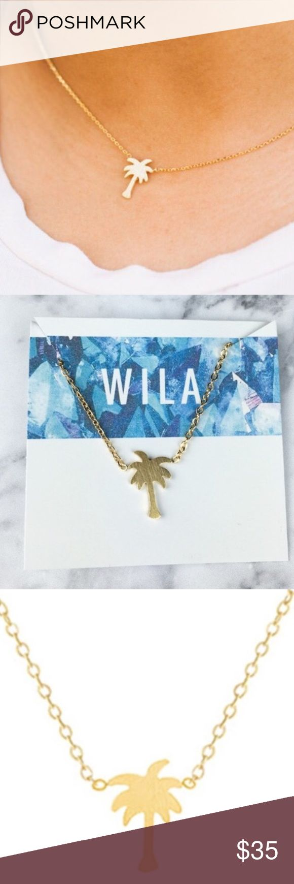 """Gold Palm Tree Necklace  16 K gold plated metal alloy 