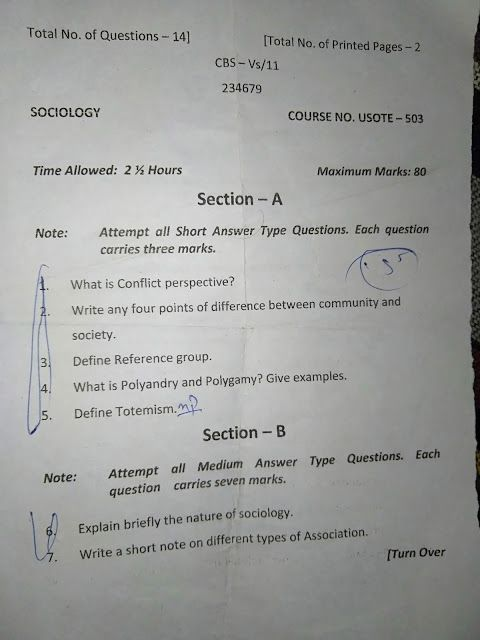 B A Semester 5th Sociology Previous Questions Paper Jammu University Latest Update Previous Year Question Paper Previous Question Papers What Is Conflict
