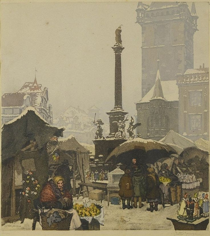 "Jaromír Straits - Trotters (1882-1959)  ST. NICHOLAS MARKET IN PRAGUE. Aquatint, etching on paper, 360x320 mm, signed in pencil lower right ""J. Stretti - Zamponi '"