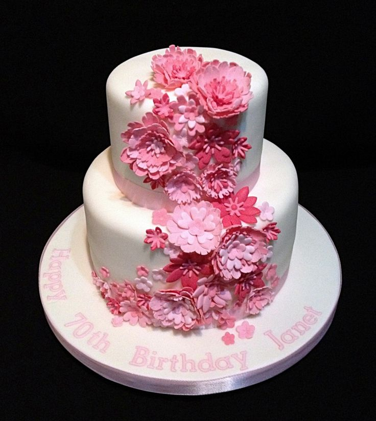 2 tiers birthday cake decoration idea with pink flowers - Birthday Cake Designs Ideas