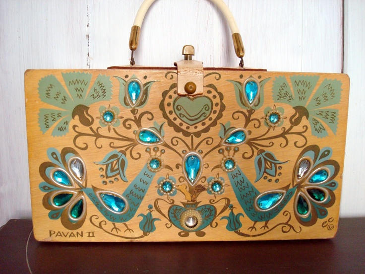 1960's Vintage Enid Collins Box Purse with Peacocks