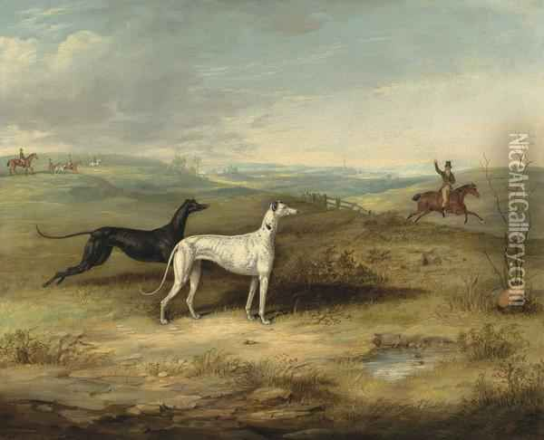Thomas W. Bretland   Hare Coursing - Two Greyhounds With A Distant Rider