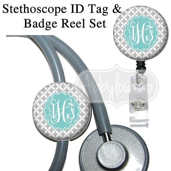 Badge Reel Holder and Stethoscope ID Tag Set Badgereels : Personalized with Your Initials Preppy on Etsy, $15.99