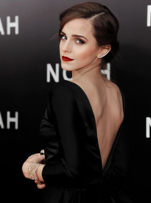 Very elegant with dark hair and that dress.