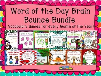 This  newly bundled Word of the Day Brain Bounce Games from SOL Train Learning has task cards that ask questions about monthly vocabulary. These games will cover your entire school year!  There is a teacher guide to give you ideas on how to use these cards.$ Read more on our blog. #SOL Train Learning#Word of the Day games#TPT
