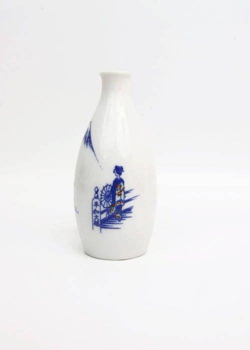 Excited to share the latest addition to my #etsy shop: Vintage Milk Glass Sake Decanter Wine Carafe Red and Blue Geisha Girl Japanese Bottle Mount Fuji Made in Japan Asian Vase Itsukushima Shrine #housewares #white #christmas #blue #milkglass #milkglasssake #sakedecanter http://etsy.me/2n8wugj