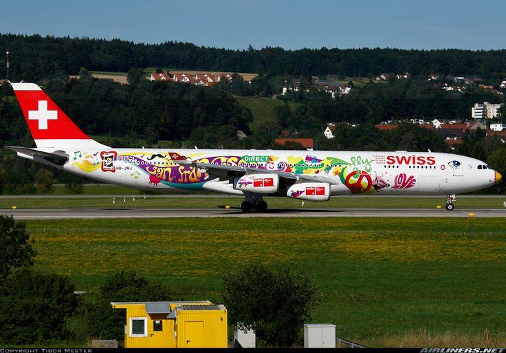 Airbus A340-313, Swiss International Air Lines, HB-JMJ, cn 150, 219 passengers, first flight 24.10.1996 (Air Canada), Swiss delivered 3.5.2007. Foto: Zurich, Switzerland, 31.7.2010.