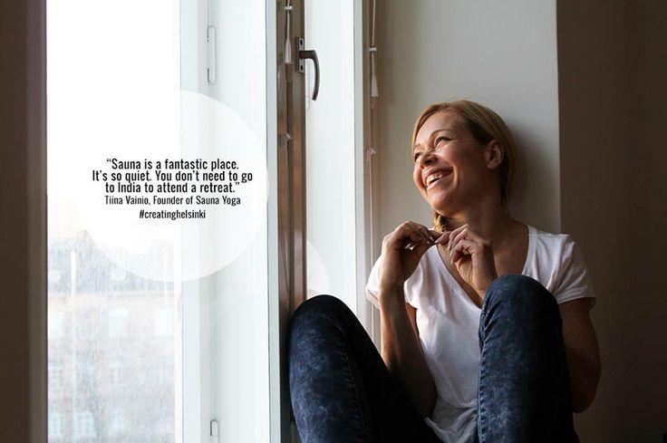 Saunajoogan kehittäjä, liikuntaohjaaja Tiina Vainio