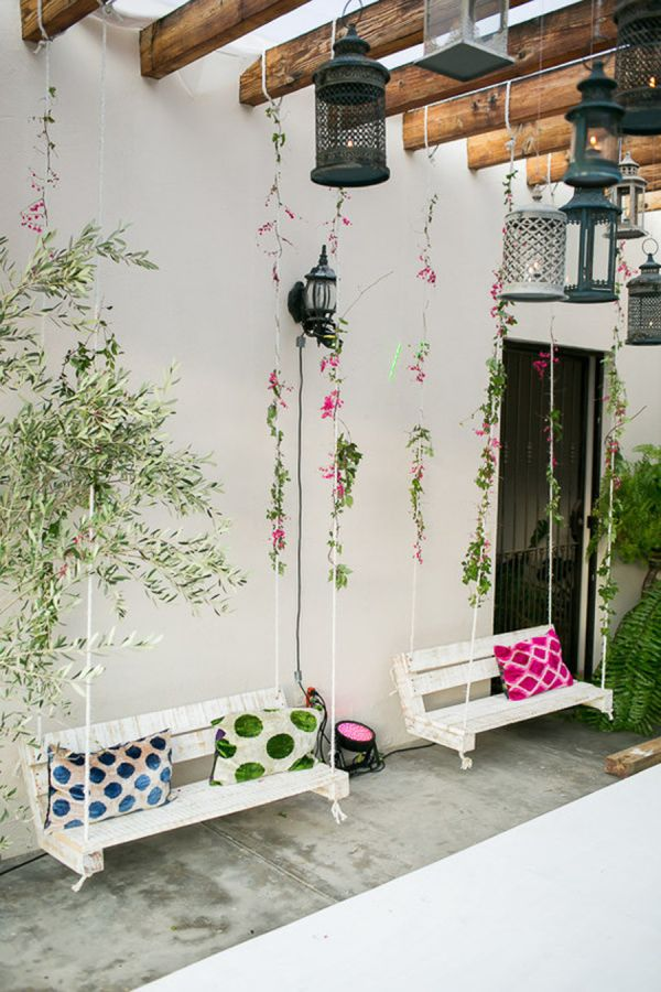 Hanging swings: http://www.stylemepretty.com/living/2015/09/12/hot-pink-floral-filled-birthday-party-in-mexico/ | Photography: Ana & Jerome - http://anaandjerome.com/