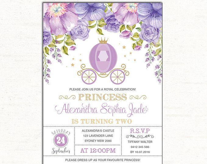 Invitación de cumpleaños de princesa lavanda. Invitan a fiesta de púrpura y oro. Carruaje real. Corona. Invitación de princesa floral. Ducha de princesa. LAV1