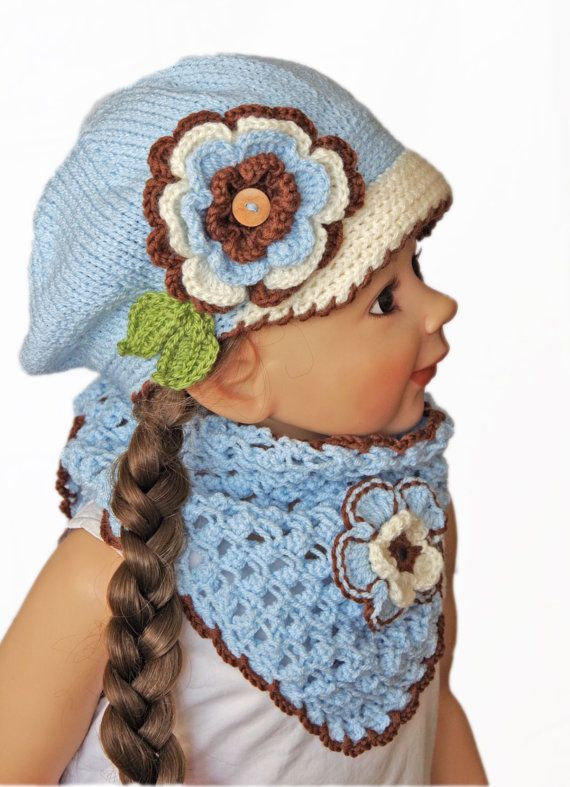 PEAKED CAP with the scarf  Gils Knit Flower Hat in Rose - BLue - Knit Toddler Hat - Knit Girls Hat - Crochet,    2-6 years