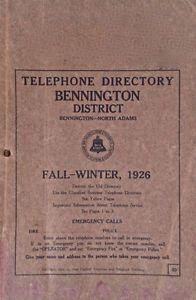 Antiquité 1926. RARE. Bottin téléphonique Bennigton-North Adams