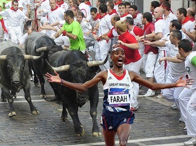 UK gold medal track star Mo Farah outruns just about anything!