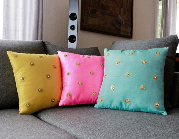 Gota Garden: Colorful silk cushion covers with gota patti work