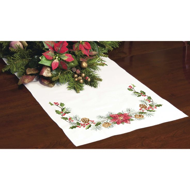 DIMENSIONS-Stamped Cross Stitch: Table Runner. Allow Dimensions to help you create a 100% cotton table runner that will be a great decoration for your holiday party.