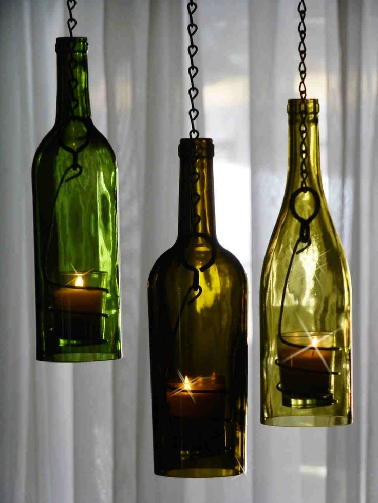 how to make a hanging wine bottle candle holder