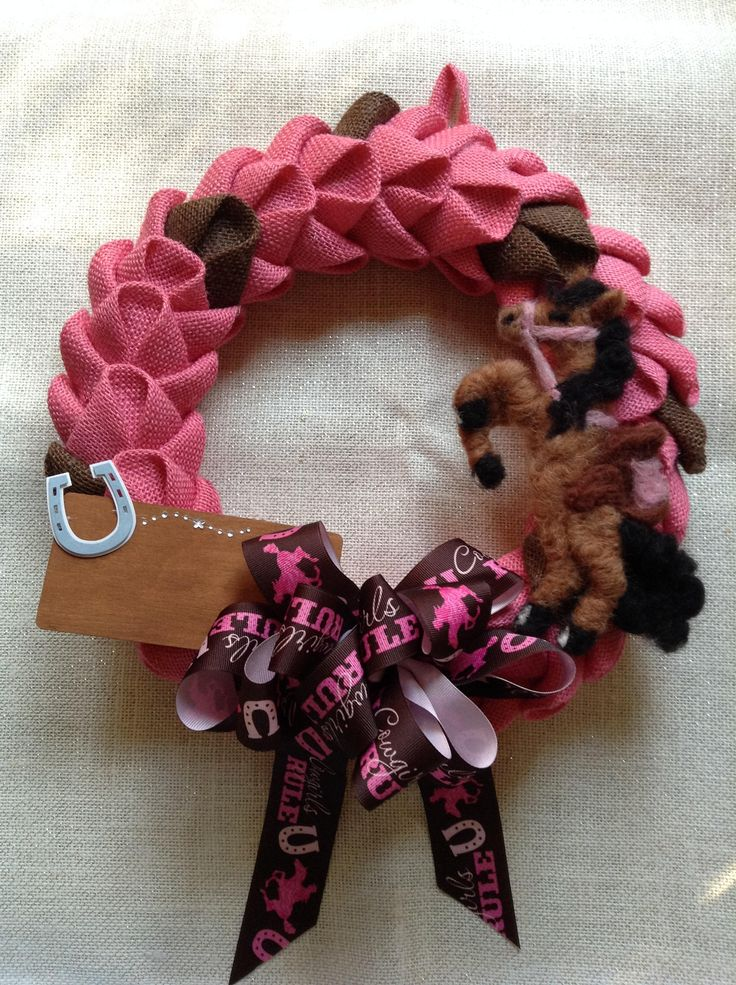 Burlap pink and brown Cowgirl horse room decor wreath for girls room personalized