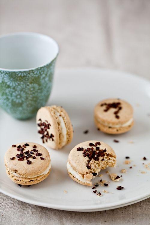 Pistachio Cocoa Nib Macarons With Bourbon Buttercream