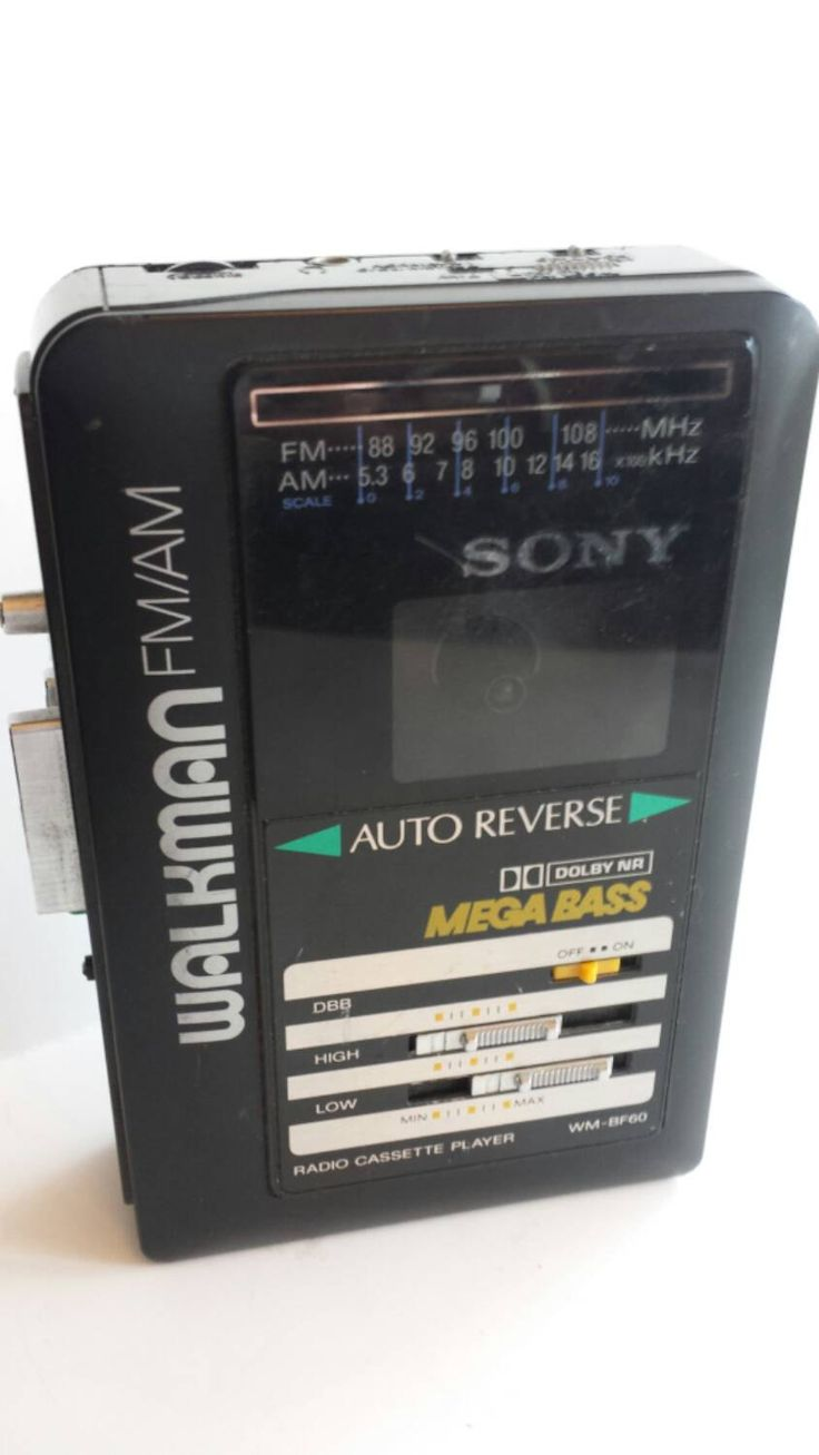 Vintage 90s Sony Fm  Am Cassette Player Walkman Mega Base